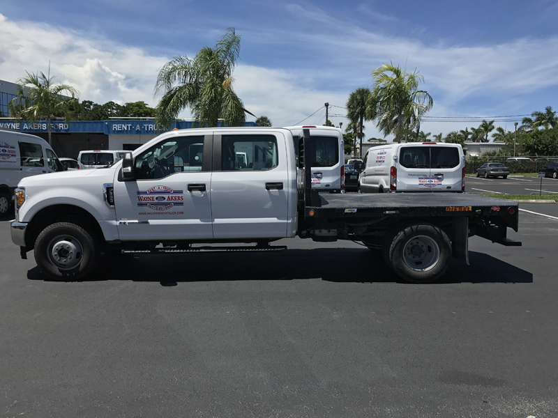 Truck Bed Dimensions >> F-350 9' Crew Cab 4x4 DIESEL Flat Bed with Multiple Tow package - Akers Truck Rental
